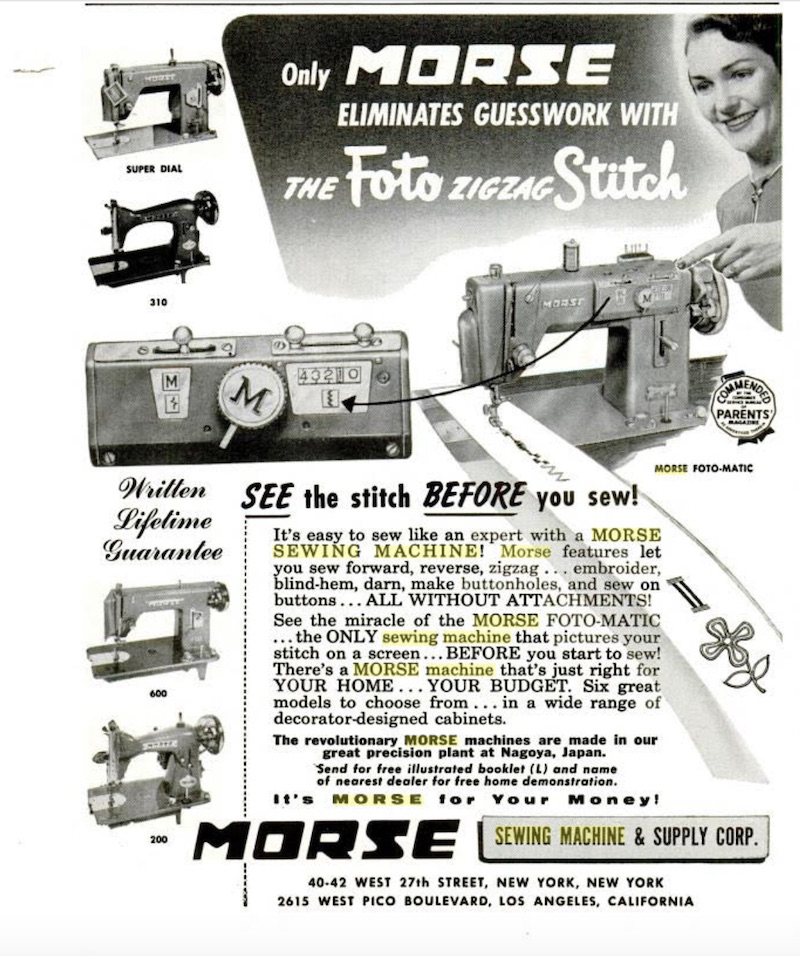 old ad featuring a morse machine